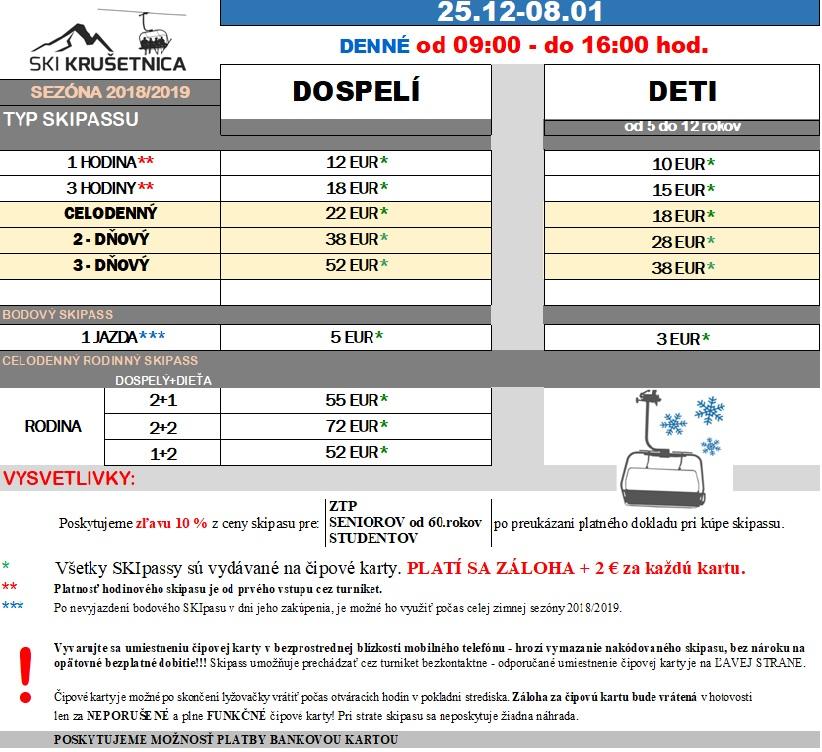 Cenníky lyžiarskych lístkov platné v sezóne 2018 2019   0443a2431cb